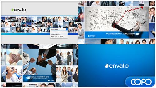 蓝色主题企业文明视频ae模板Multi Video Corporate Presentation