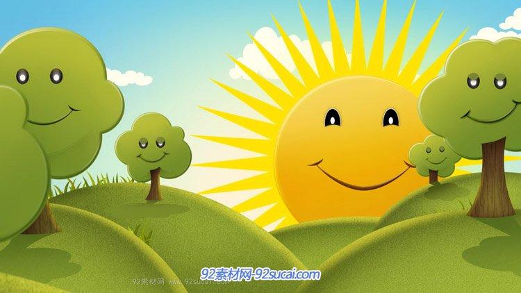 卡通绿色大地小树太阳公公笑眯眯六一儿童节舞台演出背景视频素材