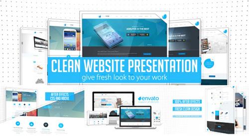 网络页面产品展示加说明ae模板Clean Website Presentation