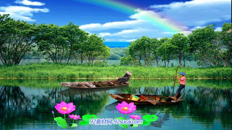 唯美夢幻的河流 山青水秀的美景荷花小船鵝劃過舞臺背景視頻素材
