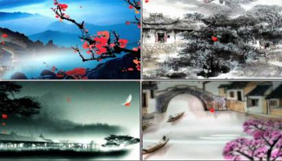 中国风水墨山水画江南梦里水乡LED大屏幕舞台背景动态视频(有音乐