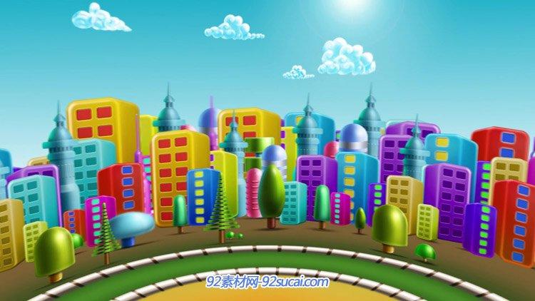 多彩的卡通城市动画 六一儿童节舞台演出背景高清动态视频素材