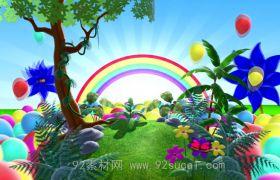 卡通彩虹约定地球转动 6.1六一儿童节节目演出晚会背景视频素材
