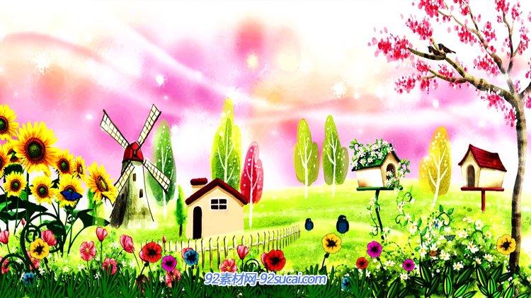 六一卡通儿童唯好梦幻的景色 小花小草风车小屋舞台配景视频素材