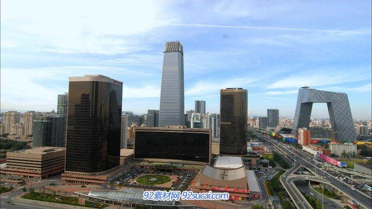 航拍北京城市风光城市高楼大厦夜景天安门公交桥车流人流高清实拍