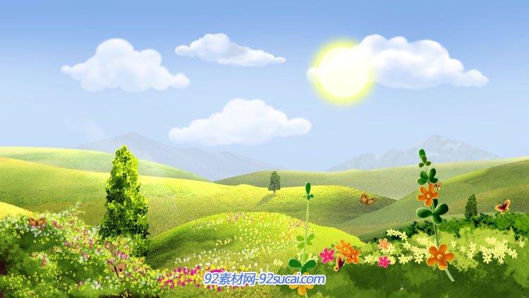 卡通风景绿色草地蓝天白云春天美景花朵蝴蝶led动态背景视频素材