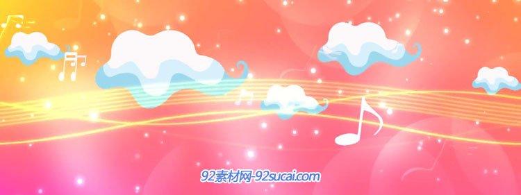 卡通音乐符号动画 六一儿童节舞台演出动态背景视频素材