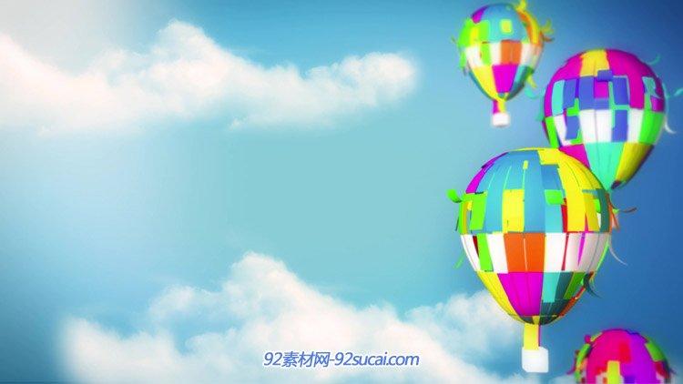 10段儿童动态背景视频素材 气球扇子卡通城市六一儿童
