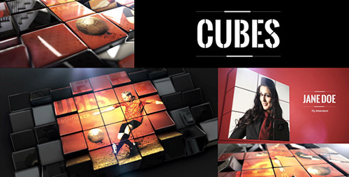 三维立方体翻转相册ae模板Cubes 11420742