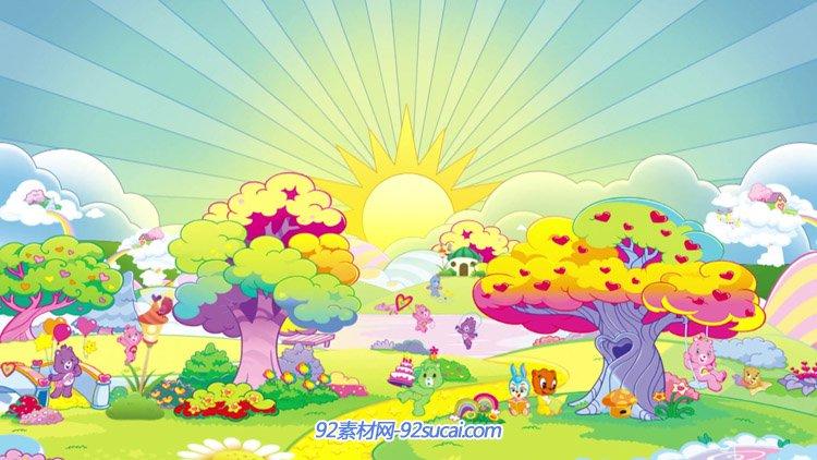 卡通树林树木动物狂欢 太阳云朵儿童幼儿园六一表演动态背景视频