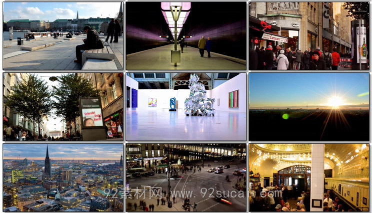 延时摄影汉堡城市生活景观交通车流人流商务大楼城市夜景高清实拍