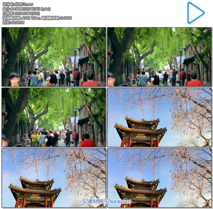 陌头行人 街下行大家流人群 凉亭开满花的树枝蓝天 高清实拍视频