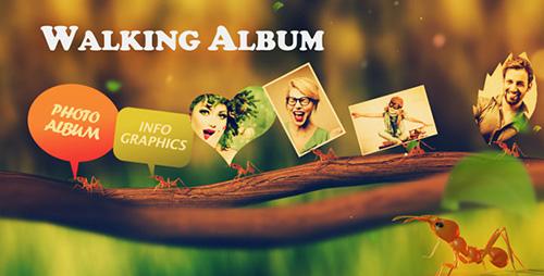 绿色清新的小蚂蚁搬照片图文展示电子相册AE模板 Walking Album