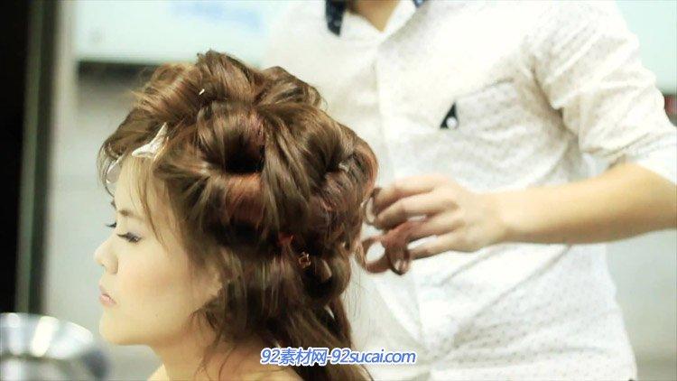 帕玛造型沙龙宣传片美发店美发师吹头发拉头发定造型高清实拍视频