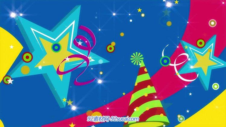 卡通蛋糕礼物生日帽生日 儿童欢乐庆祝背景 动态视频素材