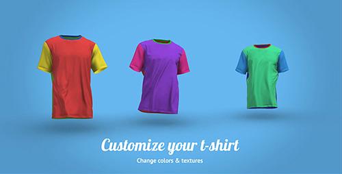 有趣的会行走的T恤衫三维动态LOGO包装演示 AE模板 T-Shirt Walk