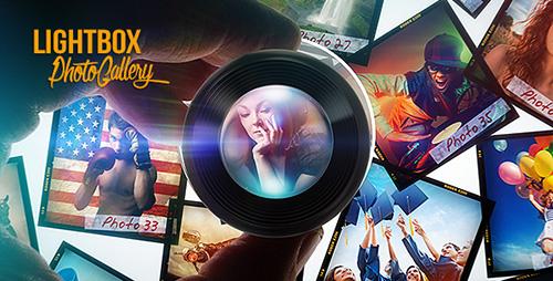 精彩灯光光效特效照片电子相册AE视频模板 Lightbox Photo Galler