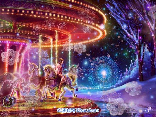 儿童卡通梦幻游乐场旋转木马摩天轮雪花纷飞圣诞节标清背景视频