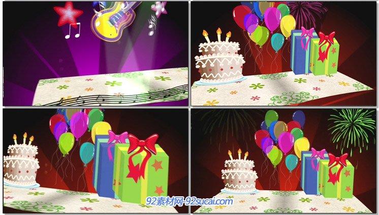 祝您生日快乐卡通生日蛋糕欢庆的气球礼物盒烟花动态背景视频素材