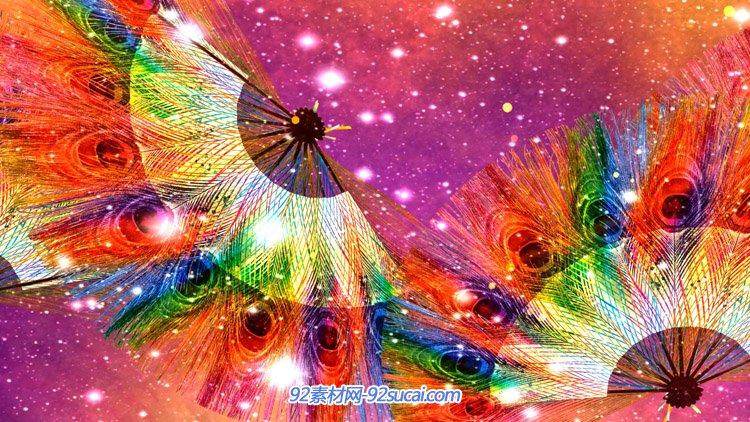 绚丽五彩孔雀羽毛扇子动画 LED高清舞台背景动态视频素材