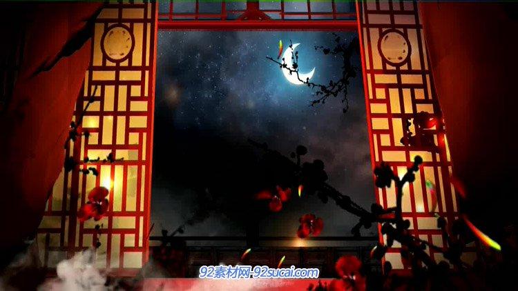古风静夜思中国风窗前明月红梅暗夜 LED古典背景动态视频素材