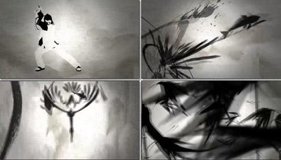 中国风格水墨墨迹中国武术功夫太极笔墨LED高清舞台背景动态视频
