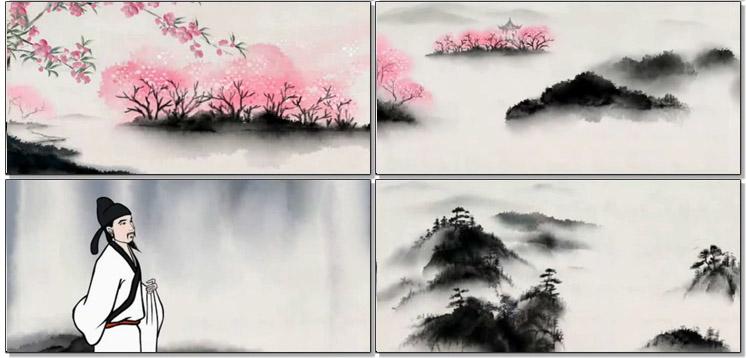 中国风水墨山水桃花蝴蝶简笔画李白醉酒女子弹琴动态背景视频素材