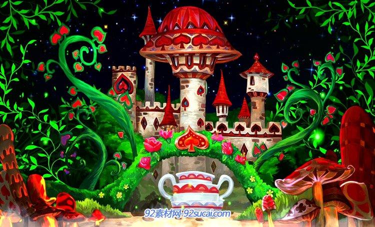 卡通儿童动画爱心蘑菇城堡宝宝宴百天满月酒LED舞台背景动态视频