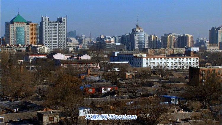 北都城市高楼大厦左近的老城区老屋子民宅高清实拍视频素材