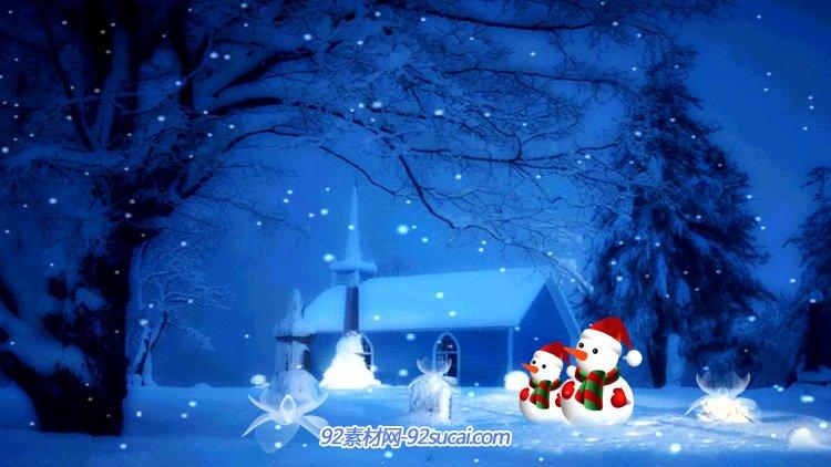冬天冬季圣诞节下雪的情景 冬日雪人卡通圣诞节日动态背景视频