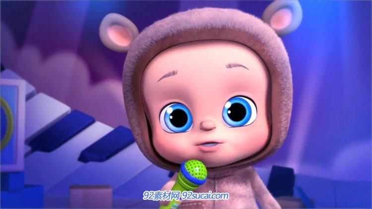 心爱卡通小娃娃站在舞台上唱歌 睡婴儿床儿童节目静态视频素材