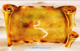 中国古代唐朝宫殿建筑 丝绸之路清明上河?#35745;?#24102;画轴打开动态视频