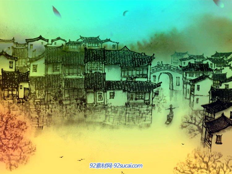 江南有座金华城(彩幕) 中国风水墨江?#25103;?#26223;LED标清背景动态视频