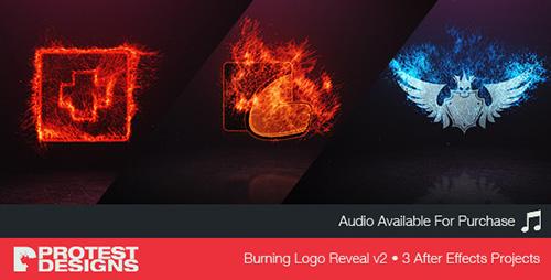 电影燃烧LOGO标志显示 AE模板 Burning Logo Reveal v2