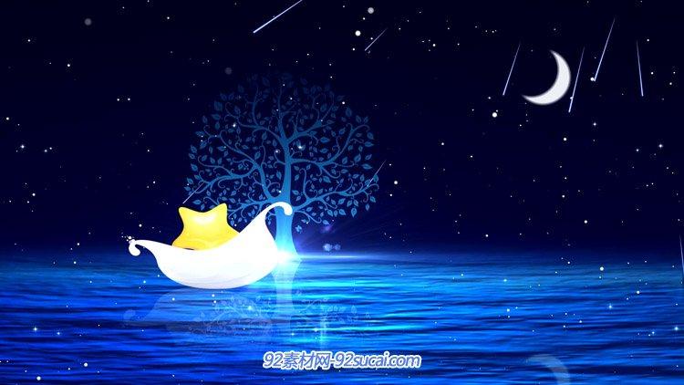 夜空星星粒子流星雨玉轮 湖中的小船小树LED舞台配景视频(有音乐)