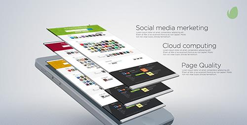 网站微博空间平面推广图文展示AE模板 Website Presentation