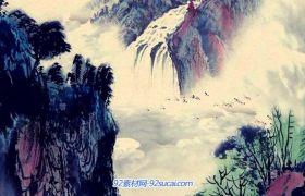 中国风水墨高山流水画国画墨迹小山村庄水墨风景画 动态视频素材