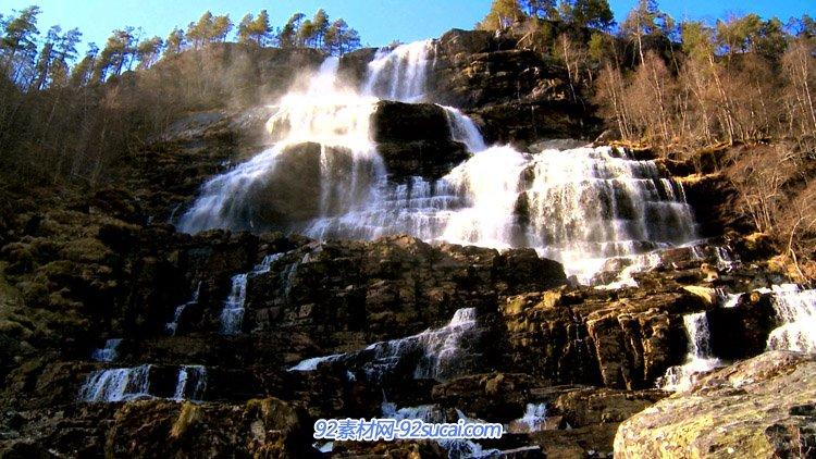 壮观的层层高山瀑布水帘特写 高清自然风光美景实拍视频素材
