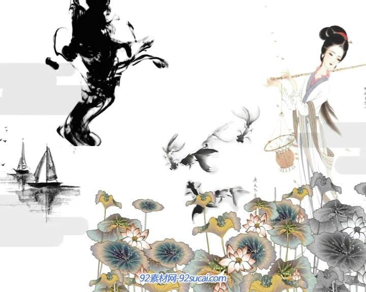 天上失下个林妹妹中国风水墨动画 古装男子墨迹山川静态配景视频