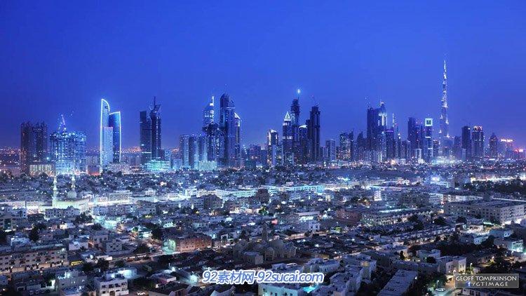 迪拜延时摄影哈利法塔帆船酒店高楼建筑城市交通夜晚灯光高清实拍