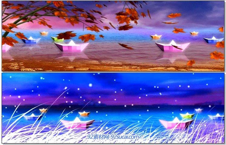 唯美浪漫的河流小纸船浪漫四季变幻星空小雨舞台背景动态视频素材