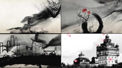 魅力中国风水墨墨迹画卷红梅龙纹水墨都会鸟巢 高清静态配景视频