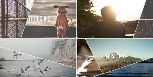 旅游相册屏幕切割多种特效转场幻灯片演示AE模板 Line Slideshow