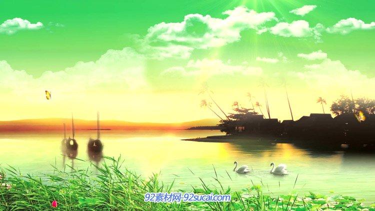 唯美清新生态绿色风景草丛白云湖泊流水小船蝴蝶飞舞台背景动态视