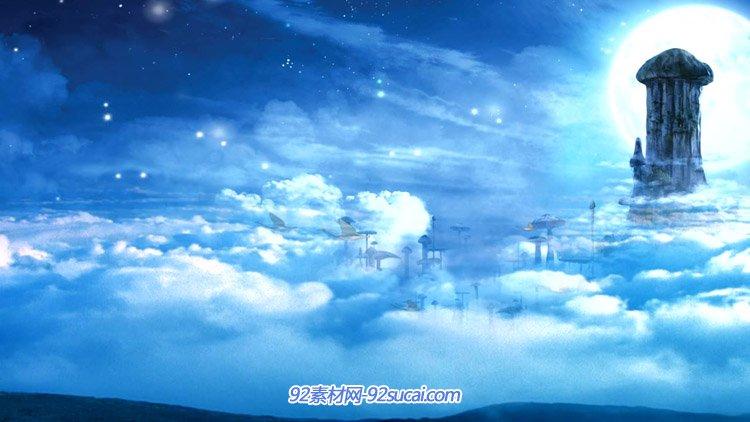 唯美夢幻的仙景 藍天白云仙山仙鶴幻境LED動態背景視頻素材