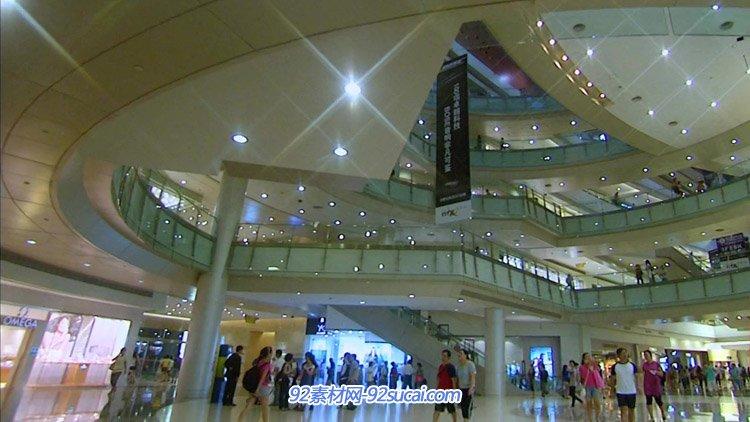 深圳大型高檔豪華商場購物娛樂中心電梯商鋪品牌溜冰人流高清實拍