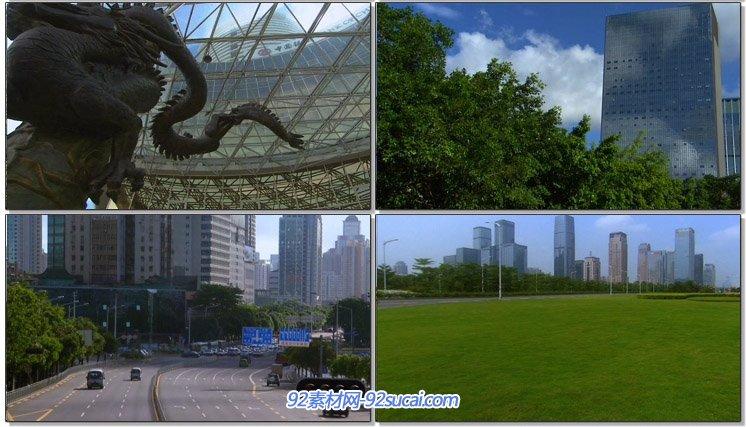 深圳城市空镜头风光风景蓝天白云高楼大厦建筑物海潮车流高清实拍