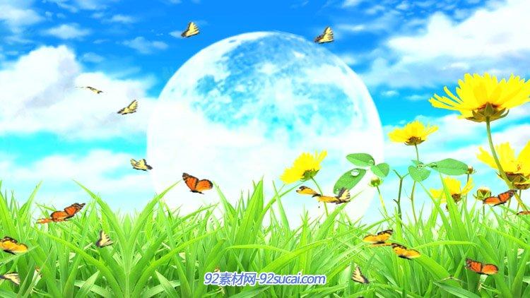 唯美清新草丛中鲜花蝴蝶飞舞圆月蓝天白云 高清动态背景视频素材