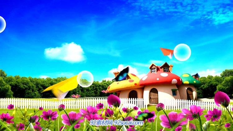 卡通儿童动画 卡通蘑菇房子花园纸飞机穿越蝴蝶飞舞动态背景视频