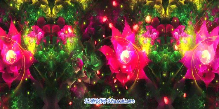 唯美绚丽梦幻的花丛 民族舞蹈动画花瓣飘落LED舞台背景动态视频